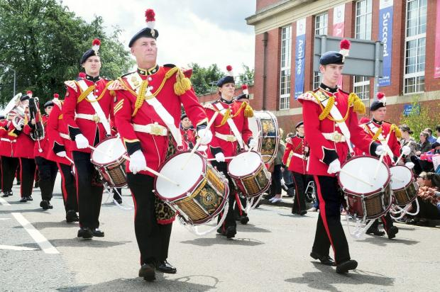 The Lancashire Fusiliers Band performing at Bury Carnival