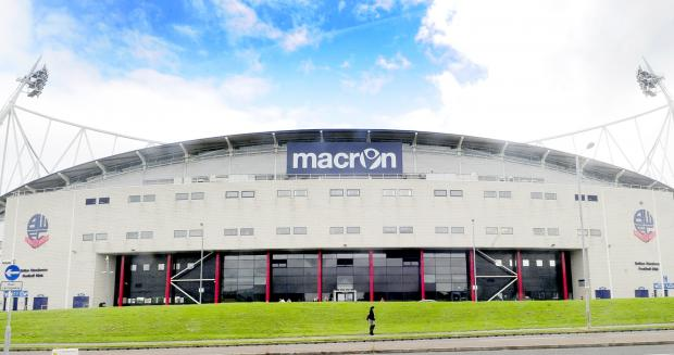 This Is Lancashire: The new Macron sign at the Reebok Stadium.