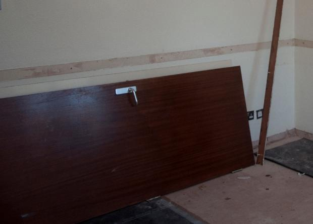 The fire door that fell on victim Irene Sharples