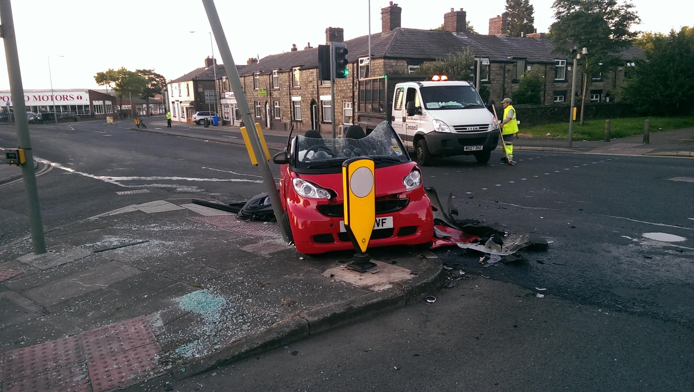Pensioner in hospital after Farnworth crash