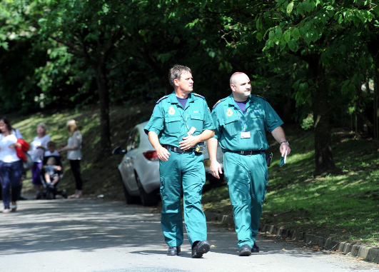 Paramedics at Briercliffe Primary School on Wednesday