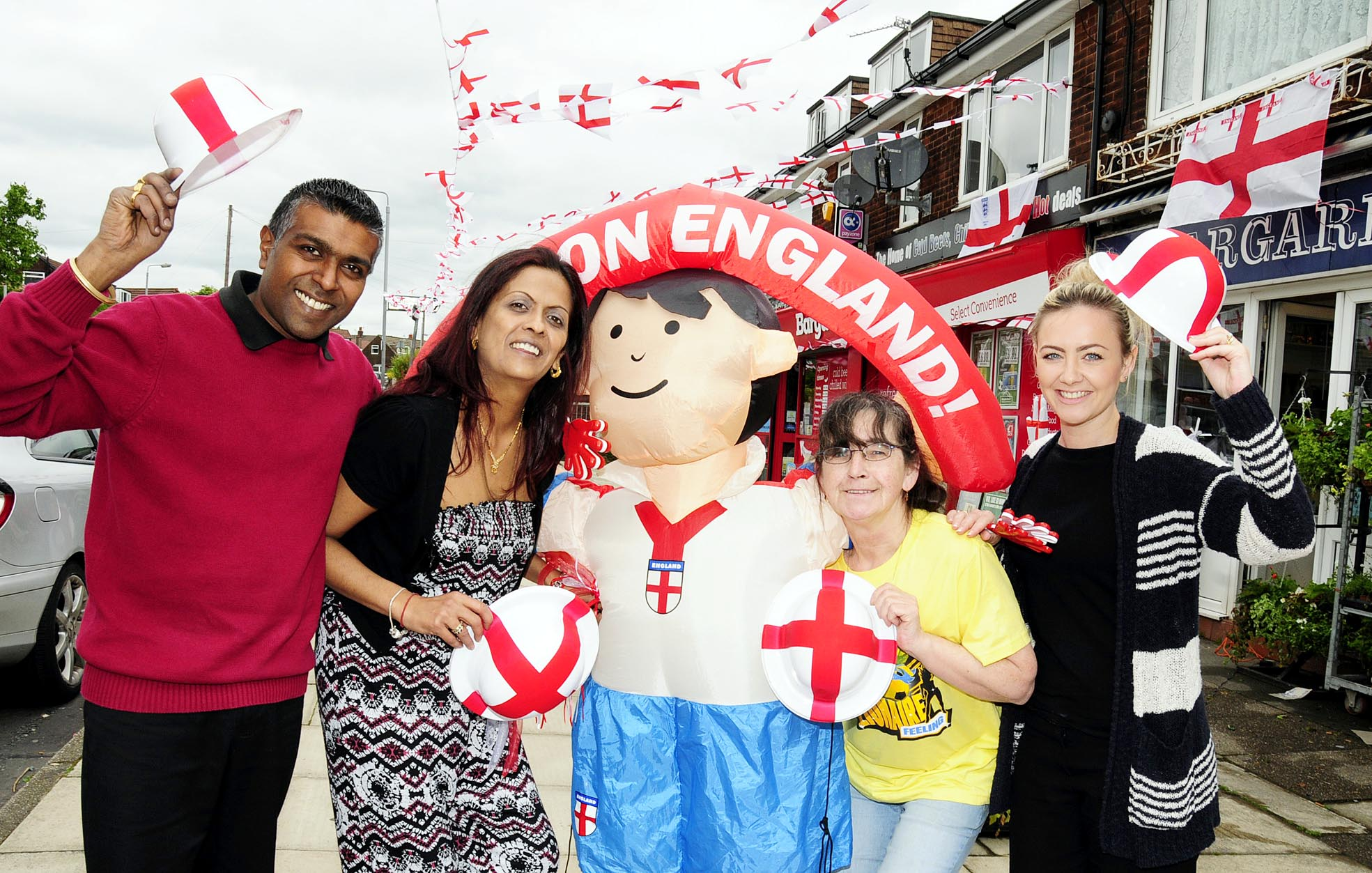 From the left are Kev Murji and his wife Mandy Murji, Margaret Henshaw and Amy Bunnell who runs Aly Barbers hair salon