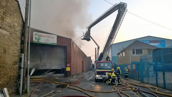 Huge fire at Ramsbottom recycling plant which produces oil