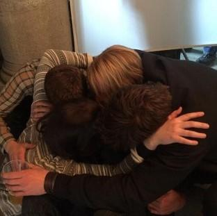 Hunger Games producer Nina Jacobson shared a picture of her group hug with Jennifer Lawrence, Josh Hutcherson and Liam Hemsworth on Twitter