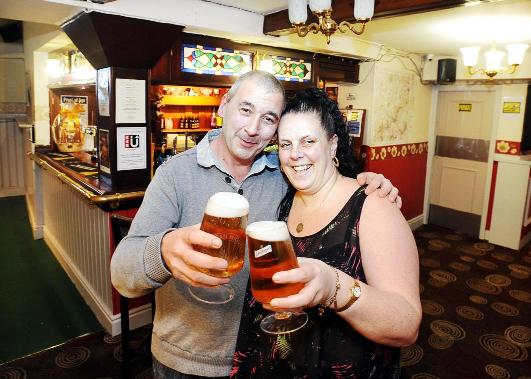 A more optimistic Les and Babs Greenall at Darwen's White Lion when they took over