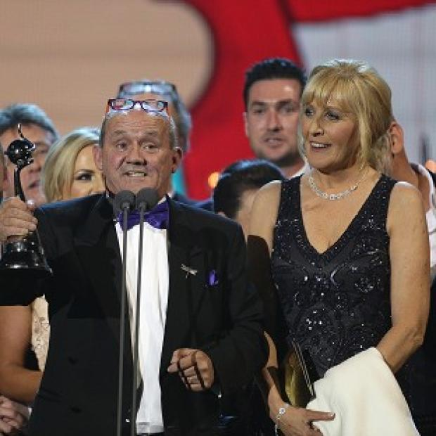 This Is Lancashire: Brendan O'Carroll and the cast of Mrs Brown's Boys accept the award for Best Comedy at the 2014 National Television Awards