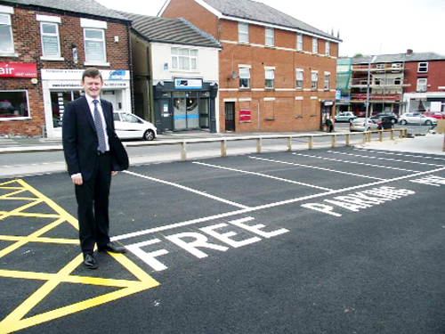 Coun Peter Wilson, deputy leader of Chorley Council at the new 'free for 30 minutes' car parking spaces in Fleet Street short stay car park.