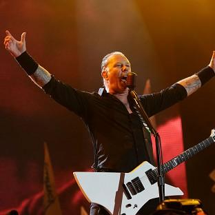 This Is Lancashire: James Hetfield of Metallica performing on the Pyramid Stage at the Glastonbury Festival