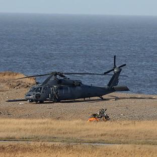 The wreckage of the US Air Force helicopter that crashed during a training exercise