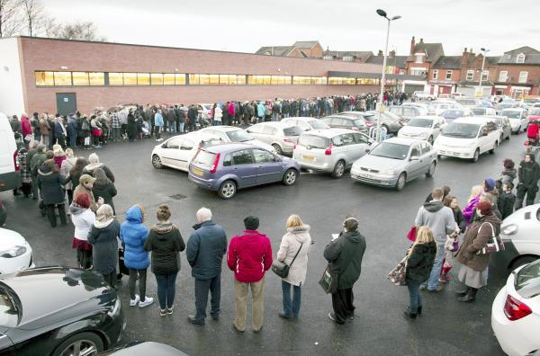 This Is Lancashire: Customers queued around the block when Aldi opened a branch in Prestwich earlier this year