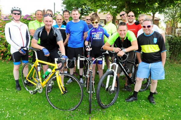 This Is Lancashire: Bike riders before they set off on their charity ride to Southport
