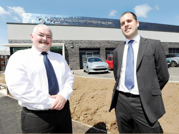 Automotive director Chris Wright, left, and architect Stuart Riley outside the hub