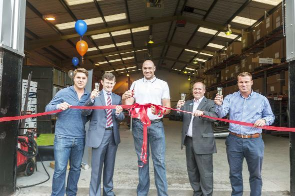 RIBBON CUTTING From left, Garry Flitcroft, manager Chorley FC, Councillor Peter Wilson, deputy leader of Chorley Council, Tyson Fury, British heavyweight boxer, Colin Marriott, ServiceSport MD and David Flitcroft, manager Bury FC