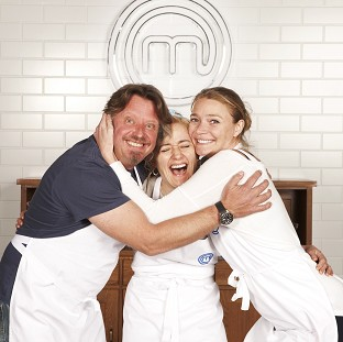 (Left to right) Charley Boorman, Sophie Thompson and Jodie Kidd before actress Sophie Thompson was named the winner of Celebrity MasterChef 2014.