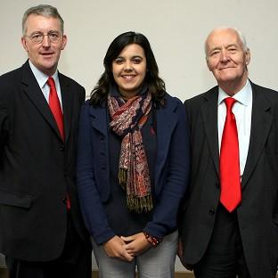 Emily Benn pictured with her grandfather, the late Tony Benn (right), and her uncle Hilary Benn, during the 2007 Labour Party Conference