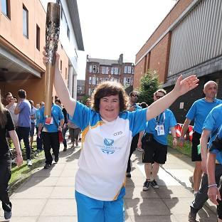Susan Boyle has taken part in the official Baton relay for the Commonwealth Games