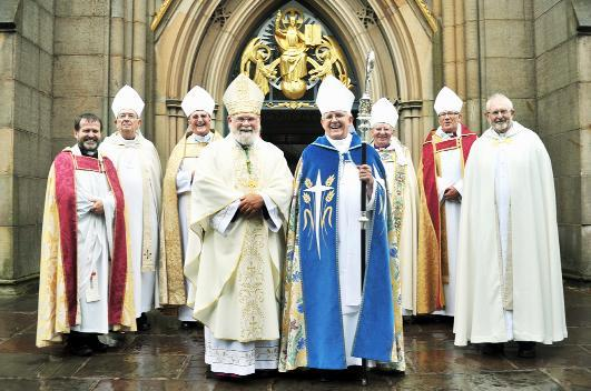 The retirement service of John Goddard and, right, the congregation at Blackburn Cathedral