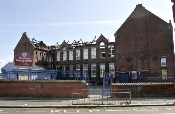 The wrecked former Clarendon Primary School