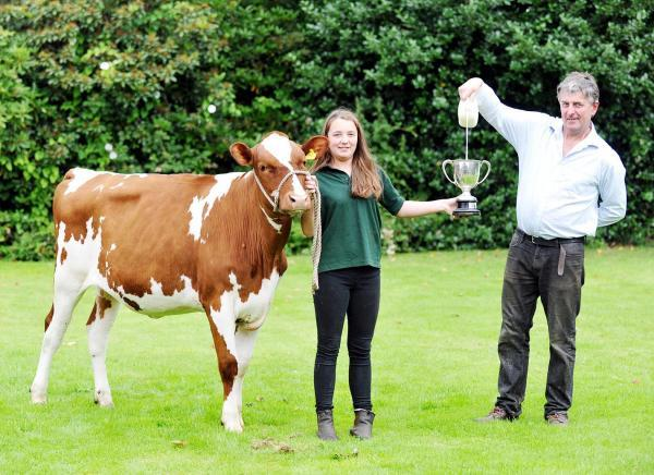 Dairy farmer Michael Partington and daughter Laura with her prize-winning heifer Hulton Saracens Linky