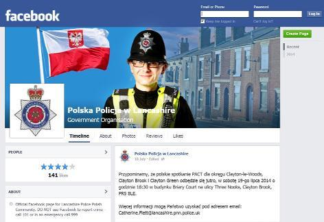 Chorley special constable sets up Polish Facebook page
