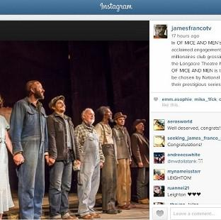 James Franco, Chris O'Dowd and Leighton Meester starred in the Broadway production of Of Mice And Men (James Franco/Instagram)