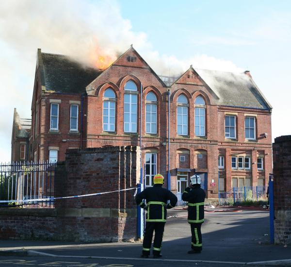 Firefighters at the blaze at the former Clarendon Primary School