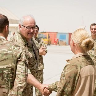General Sir Peter Wall meets servicemen and women who operate the Medical Emergency Response Team in Camp Bastion