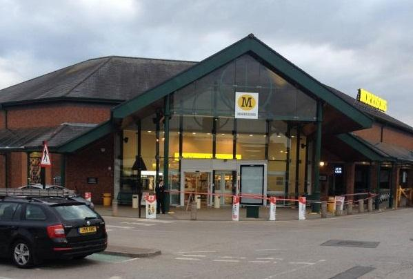 The main entrance at Morrisons in Lea Gate, Harwood, where a pane of glass fell from the canopy and landed on a man underneath.