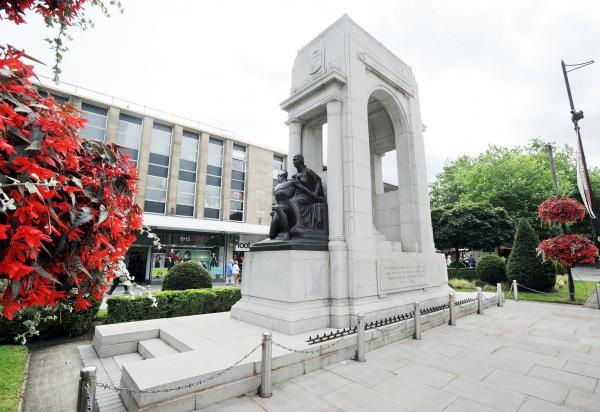 The war memorial in Victoria Square, Bolton