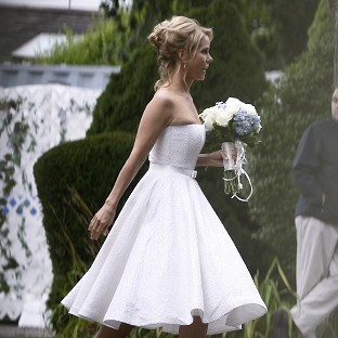 Cheryl Hines makes her way to her wedding to Robert Kennedy Jr in Hyannis Port, Massachusetts (AP)