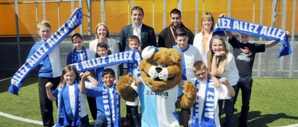 Manager Gary Bowyer. back centre, meets Youth Zone members and supporters