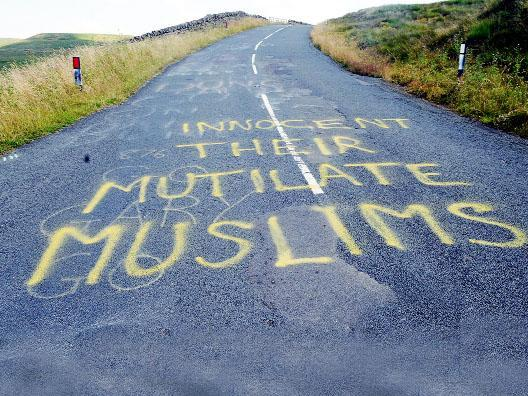 OFFENSIVE Some of the words daubed on the Ironman UK route