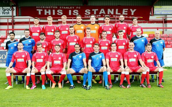 Accrington Stanley pose for their squad photo yesterday
