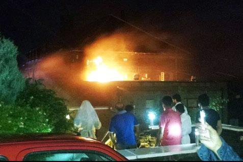 Diners flee as Burnley Indian restaurant sign bursts into flames