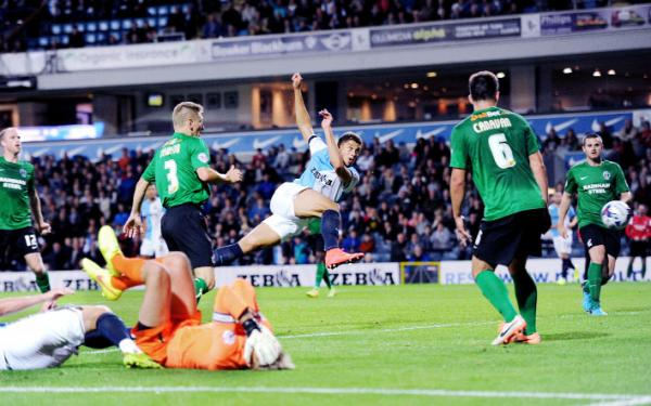 Rudy Gestede sees a goal disallowed for Rovers in the final moments of their 1-0 League Cup defeat to Scunthorpe Picture: CLIVE LAWRENCE