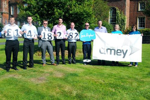 FIRM FIGURE: The charity bike riders at the Sue Ryder centre near Chorley