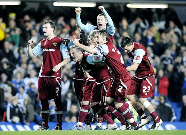 Burnley celebrate their penalty shoot-out win over Chelsea in the League Cup in 2008