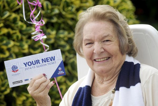 One of Bolton Wanderers' oldest fans is given season ticket by club on 90th birthday