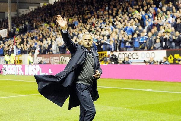 Jose Mourinho acknowledges the Turf Moor crowd