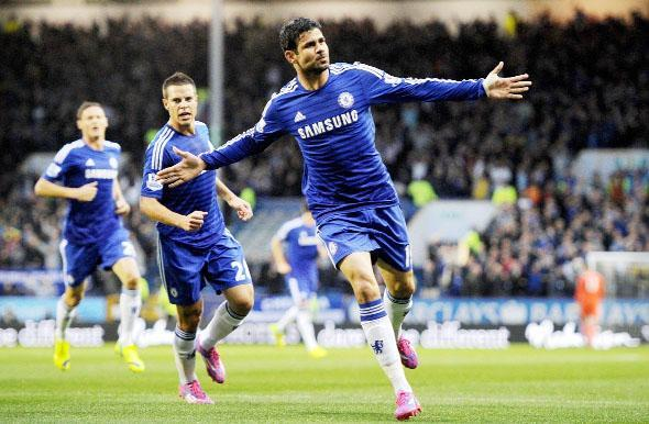 Diego Costa celebrates his equaliser
