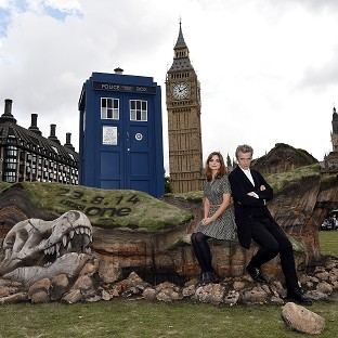 Peter Capaldi and Jenna Coleman attend a photocall to promote the new series of Doctor Who in London