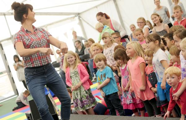 Katy Ashworth entertains young food festival fans