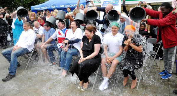 Celebrity chefs and stallholders take part in the ice-bucket challenge