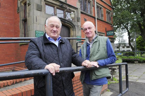 Cllr Colin Rigby, treasurer of The Barlow, Edgworth, left, and Mike King, volunteer outside The Barlow
