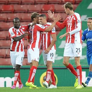 Jonathan Walters, centre, bagged a brace for Stoke