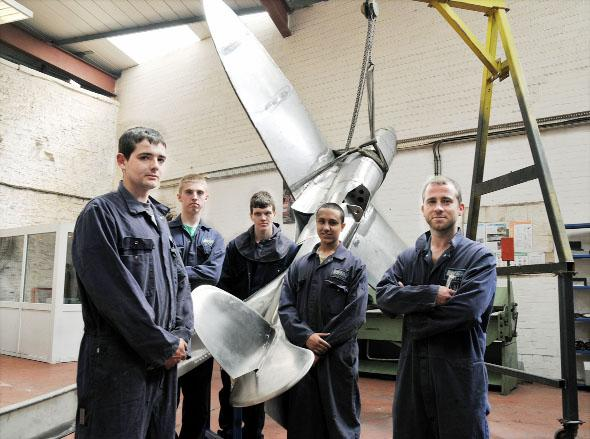 Flashback to the WEC Group apprentices and their Spitfire sculpture, from left, Grant Grunshaw, Liam Thompson, Ben Reid, Saif Khan and David Tupling, who was the oldest apprentice at 31