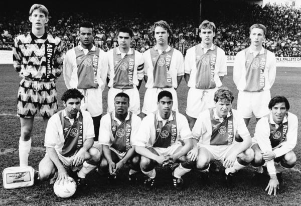 Louis van Gaal's Ajax at Turf Moor, a team including Edwin van der Sar (top left) and Edgar Davids (bottom row, second from left)