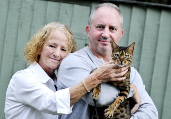 Rosemary and Mike Cafferty with Chester, their pedigree Bengal Leopard cat.