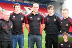 From left to right Nicky Stanton, Joel Tomkins, Lee Mossop, Ben Kavanagh, Thomas Coyle and in the inset Sam Tomkins