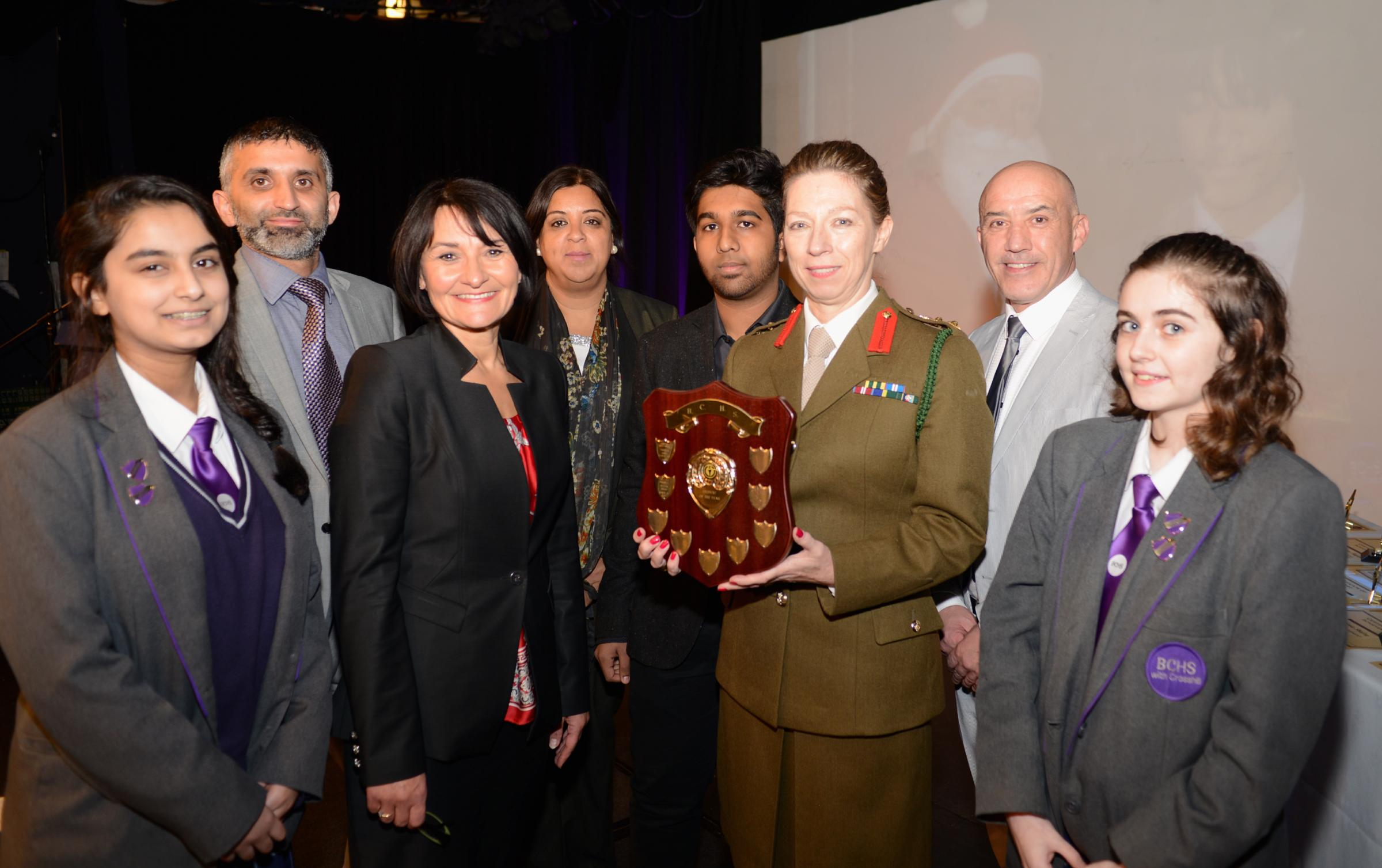 GUESTS: Maryam Khan, deputy headteacher Majid Ditta, headteacher Diane Atkinson, deputy headteacher Shanaz Hussain, last year's head boy Moaz Sidat, guest speaker Col Myszka Guzkowska, head of year Gary Chinery and deputy head girl Lucy Fletcher